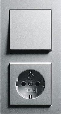 Combinatie intrerupator si priza_E2_Aluminiu