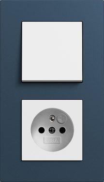 Combinatie intrerupator si priza_Esprit Linoleum Multiplex_Albastru-Alb lucios