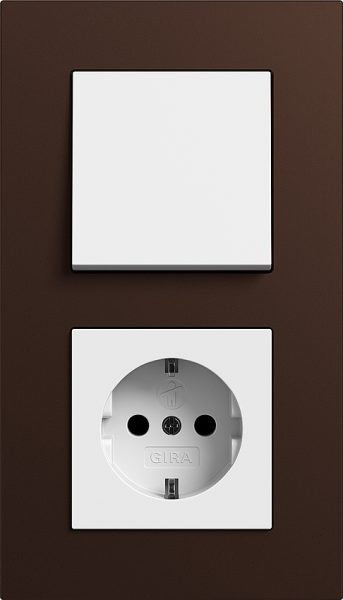 Combinatie intrerupator si priza_Esprit Linoleum Multiplex_Maro-Alb lucios