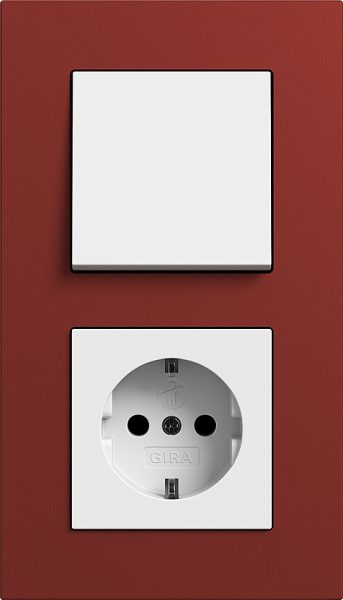 Combinatie intrerupator si priza_Esprit Linoleum Multiplex_Rosu-Alb lucios