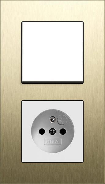 Combinatie intrerupator si priza_Esprit_Aluminiu Auriu-Alb lucios