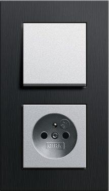 Combinatie intrerupator si priza_Esprit_Aluminiu negru-Aluminiu