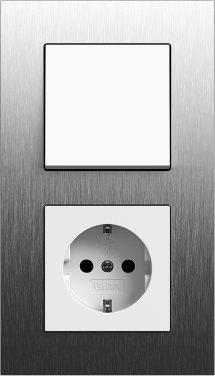 Combinatie intrerupator si priza_Esprit_Aluminiu periat-Alb lucios