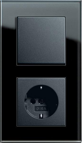 Combinatie intrerupator si priza_Esprit_Sticla neagra-Antracit