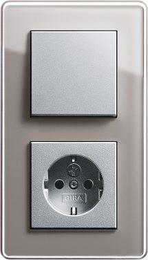 Combinatie intrerupator si priza_Esprit_Sticla umbra-Aluminiu