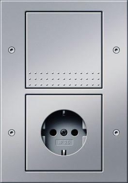 Combinatie intrerupator si priza_TX44_Aluminiu